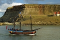 >Bark Endeavour Passing Whitby East Cliff by Rod Johnson