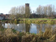 Landscape view of river and brewery water tower at Burton on Trent. Link to Landscape Gallery.