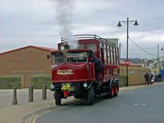 The Elizabeth, Steam Bus, waiting for passengers on the seafront at Whitby in North Yorkshire, England. Link to Transport Gallery.